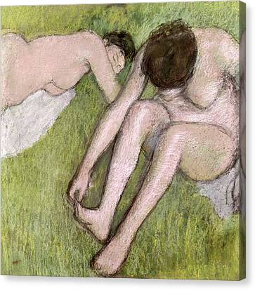 Two Bathers On The Grass Canvas Print