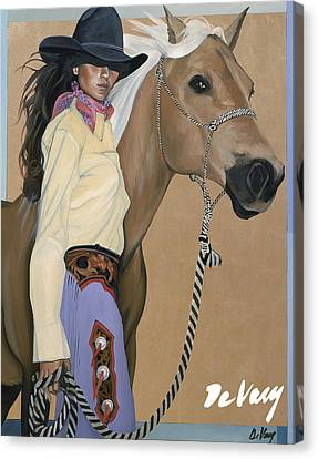 Contemporary Cowgirl Art Canvas Print - Two Beautiful Ladies by David DeVary