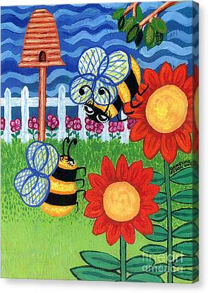 Two Bees With Red Flowers Canvas Print by Genevieve Esson