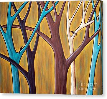 Two Birds And Five Trees Canvas Print by Karla Gerard
