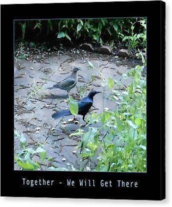 Canvas Print featuring the photograph Two Birds Blue by Felipe Adan Lerma