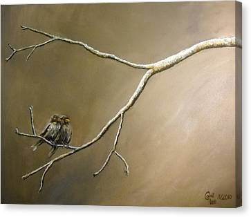 Two Birds On A Branch Canvas Print