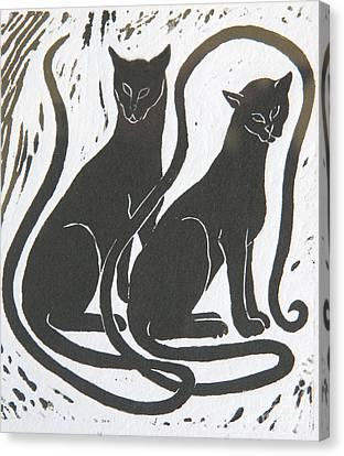 Canvas Print featuring the drawing Two Black Felines by Nareeta Martin