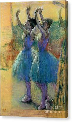 Two Blue Dancers Canvas Print by Edgar Degas