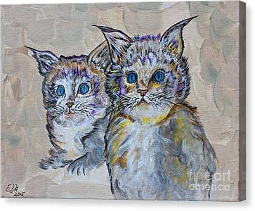 Two Blue Eyed Kittens - Colorful Art By Ella Canvas Print by Ella Kaye Dickey