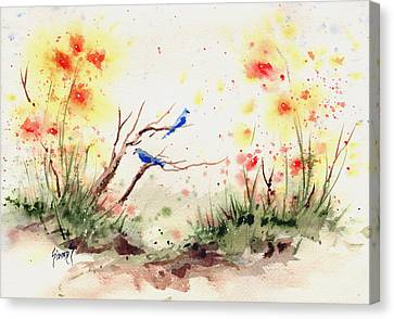 Two Bluebirds Canvas Print by Sam Sidders