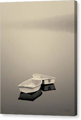 Two Boats And Fog Toned Canvas Print by David Gordon
