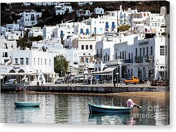 Two Boats In Mykonos Canvas Print
