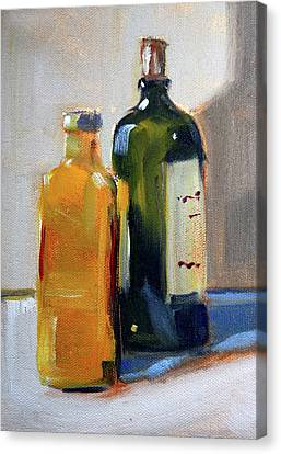 Canvas Print featuring the painting Two Bottles by Nancy Merkle