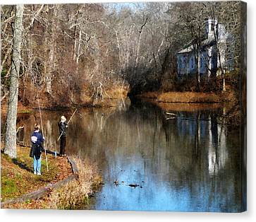 Fishing Canvas Print - Two Boys Fishing by Susan Savad