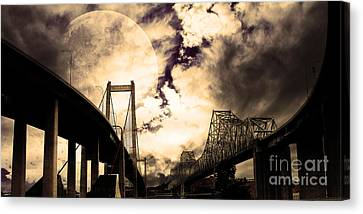 Two Bridges One Moon Canvas Print by Wingsdomain Art and Photography