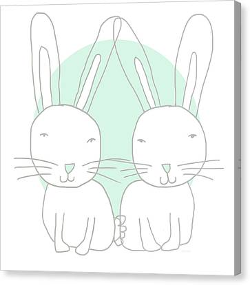 Two Bunnies- Art By Linda Woods Canvas Print by Linda Woods