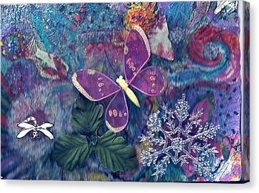 Two Butterflies And A Snow Flake Canvas Print by Anne-Elizabeth Whiteway