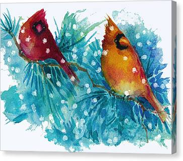 Two Cardinals Canvas Print by Peggy Wilson
