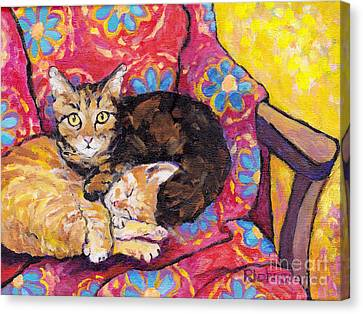 Animal Quilts Canvas Print - Two Cat Nap by Peggy Johnson