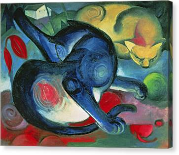 Red Leaf Canvas Print - Two Cats by Franz Marc
