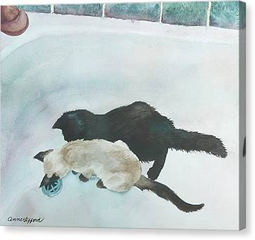 Canvas Print featuring the painting Two Cats In A Tub by Anne Gifford