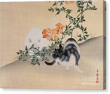 Two Cats Canvas Print by Japanese School
