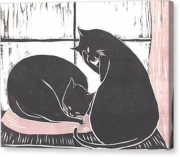 Linoleum Cut Canvas Print - Two Cats by Mui-Joo Wee