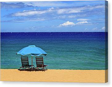 Canvas Print featuring the photograph Two Chairs And An Umbrella by James Eddy