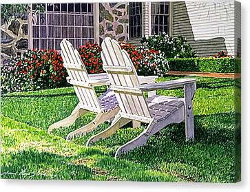 Two Chairs On Carmelina Canvas Print by David Lloyd Glover