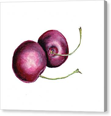 Canvas Print featuring the painting Two Cherries by Heidi Kriel