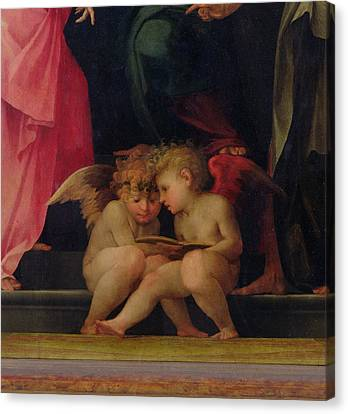 Madonna And Child Canvas Print - Two Cherubs Reading Detail From Madonna And Child With Saints by Giovanni Battist Rosso Fiorentino