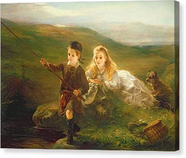 Two Children Fishing In Scotland   Canvas Print by Otto Leyde