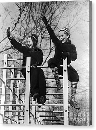Two Children Waving From Play Canvas Print by H. Armstrong Roberts/ClassicStock