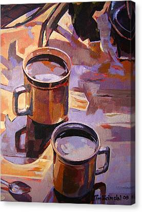 Canvas Print featuring the painting Two Coffees Take 2 by Tim  Heimdal