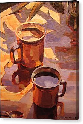 Canvas Print featuring the painting Two Coffees by Tim  Heimdal