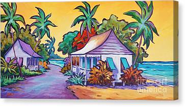 Tropical Colors Stain Glass Canvas Print - Two Cottages by John Clark
