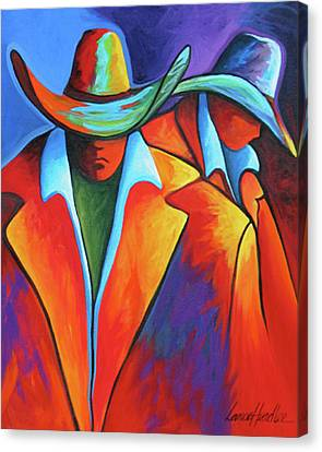 Contemporary Cowgirl Canvas Print - Two Cowboys by Lance Headlee