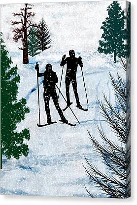 Two Cross Country Skiers In Snow Squall Canvas Print by Elaine Plesser