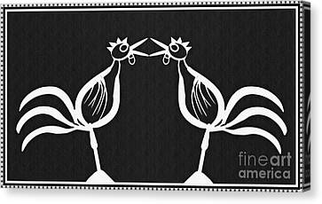 Two Crowing Roosters 2 Canvas Print by Sarah Loft
