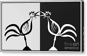 Two Crowing Roosters 3 Canvas Print by Sarah Loft