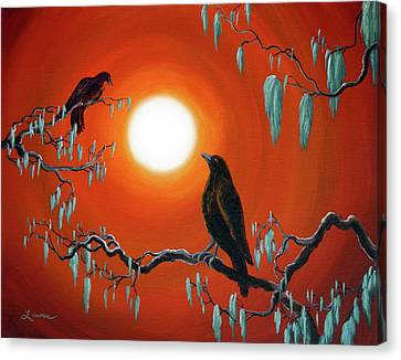 Two Crows On Mossy Branches Canvas Print by Laura Iverson