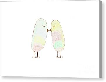 Two Cute Little Birds Canvas Print