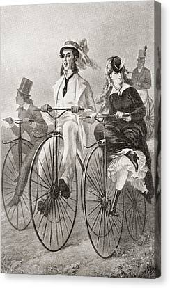 Two Cyclists On Penny Farthing Bicycles Canvas Print by Vintage Design Pics