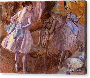 Two Dancers In Their Dressing Room Canvas Print by Degas