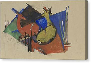 Two Deer Lying Down Canvas Print by Franz Marc