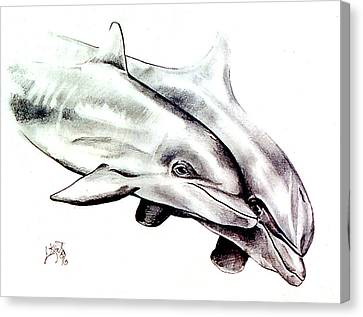 Two Dolphins Canvas Print by John Keaton
