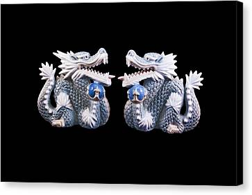 Canvas Print featuring the photograph Two Dragons On Black by Bill Barber