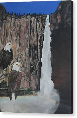 Two Eagles Near The Falls Canvas Print