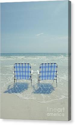 Siesta Key Canvas Print - Two Empty Beach Chairs by Edward Fielding