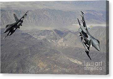 Separation Canvas Print - Two F-16 Fighting Falcons Break by Stocktrek Images