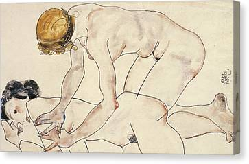 Two Female Nudes Canvas Print by Egon Schiele