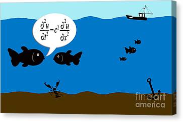 Two Fish Discuss Wave Theory. Canvas Print
