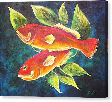 Two Fish Canvas Print by Patricia Piffath