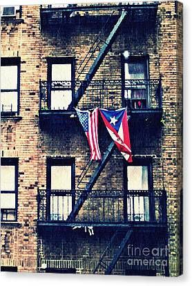Fire Escape Canvas Print - Two Flags In Washington Heights by Sarah Loft